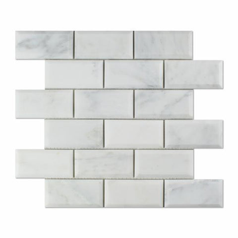 Calacatta Cressa (Asian Statuary)2x4 Beveled Mosaic Polished/Honed Stone Tilezz