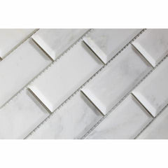 Calacatta Cressa (Asian Statuary)2x4 Beveled Mosaic Polished/Honed
