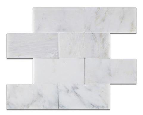 Calacatta Nuevo ( Carrara Bella ) 3x6 Subway  Honed Or Polished
