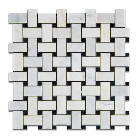 Calacatta Cressa (Asian Statuary) Basketweave with Black Marble Polished/Honed Stone Tilezz