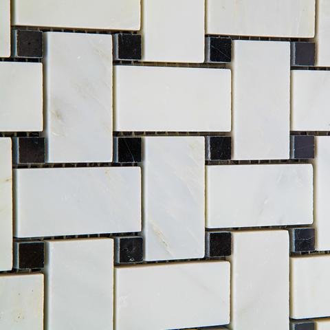 Premium Italian Calacatta Nuevo ( Carrara Bella ) Basketweave w/ Black Dots Polished Or Honed Mosaic