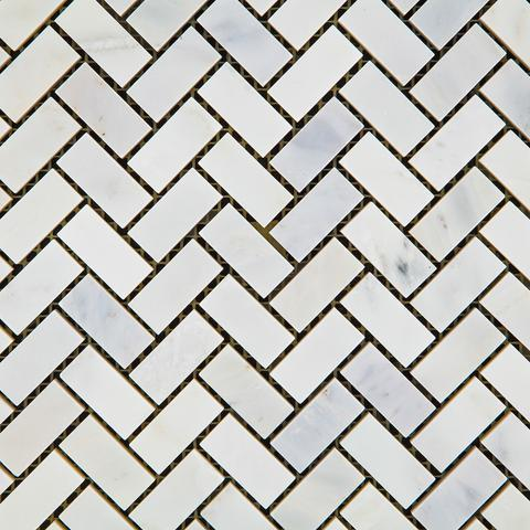 Premium Italian Calacatta Nuevo ( Carrara Bella ) Mini Herringbone  Polished Or Honed Mosaic