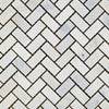 Image of Premium Italian Calacatta Nuevo ( Carrara Bella ) Mini Herringbone  Polished Or Honed Mosaic