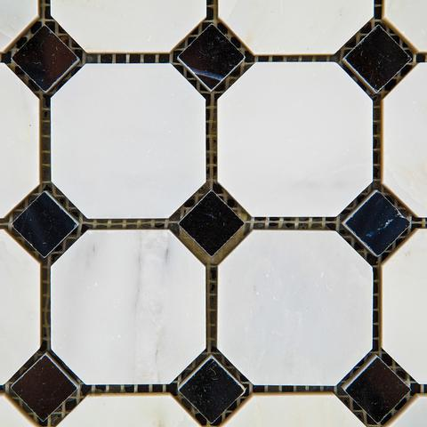 Premium Italian Calacatta Nuevo ( Carrara Bella ) Octagon w/ Black Dots Polished Or Honed Mosaic