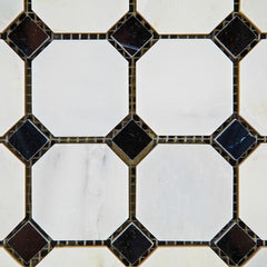 Calacatta Cressa (Asian Statuary) Octagon with Black Polished/Honed