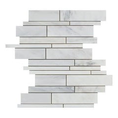Calacatta Nuevo ( Carrara Bella ) Random Strip Polished or Honed Mosaic Tile