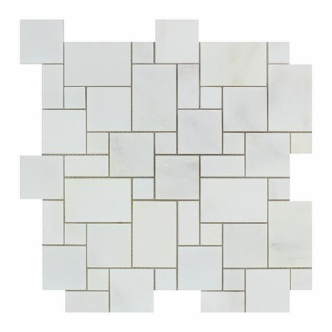 Calacatta Cressa (Asian Statuary) Mini Versailles Pattern Polished/Honed Stone Tilezz