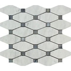 Bianco Carrara Honed or Polished Marble Octave Mosaic Tile (w/ Blue Gray Dots)