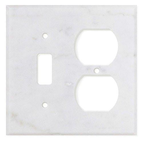 Carrara White Marble Toggle Duplex Switch Plate Polished/Honed Tilezz