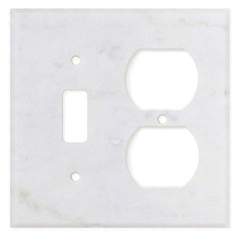 ITALIAN CARRARA WHITE MARBLE TOGGLE DUPLEX SWITCH WALL PLATE / SWITCH PLATE / COVER - HONED OR POLISHED