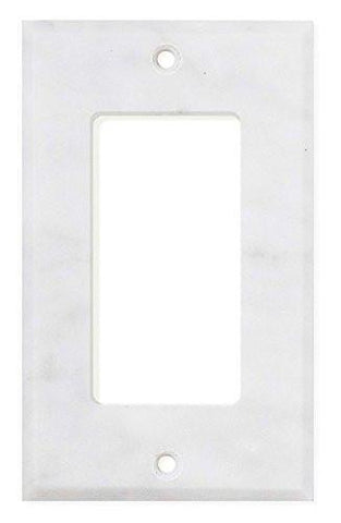 Carrara White Marble Single Rocker Switch Plate Polished/Honed Tilezz