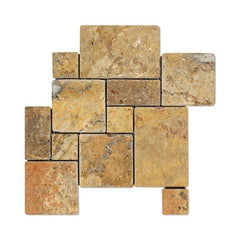 Scabos Travertine 4 Pieced Opus Pattern Tumbled Mosaic Tile Stone Tilezz