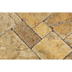 Scabos Travertine 4 Pieced Opus Pattern Tumbled Mosaic Tile
