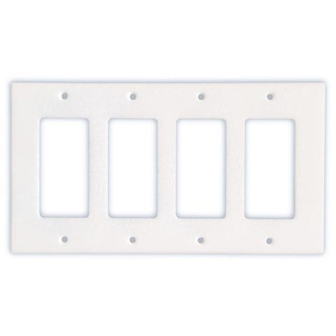 THASSOS WHITE MARBLE QUADRUPLE ROCKER SWITCH WALL PLATE / SWITCH PLATE / COVER - HONED OR POLISHED