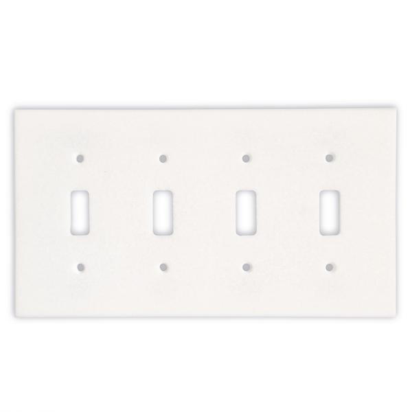 Thassos White Marble Quadruple Toggle Switch Plate Tilezz