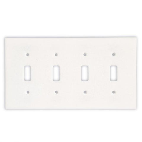 THASSOS WHITE MARBLE QUADRUPLE TOGGLE SWITCH WALL PLATE / SWITCH PLATE / COVER - HONED OR POLISHED