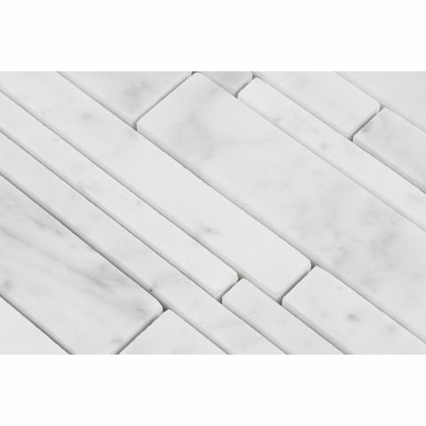 Carrara White Marble Honed or Polished Random Strip Mosaic Tile