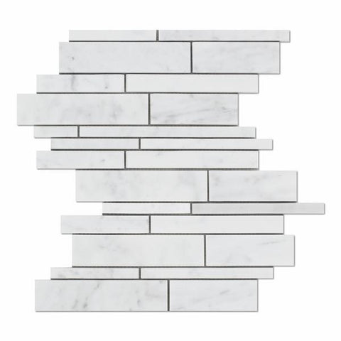 Carrara White Marble Random Strip Mosaic Polished/Honed Stone Tilezz