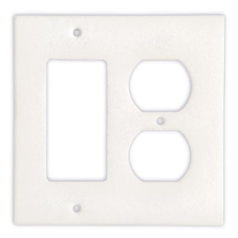 THASSOS WHITE MARBLE ROCKER DUPLEX SWITCH WALL PLATE / SWITCH PLATE / COVER - HONED OR POLISHED