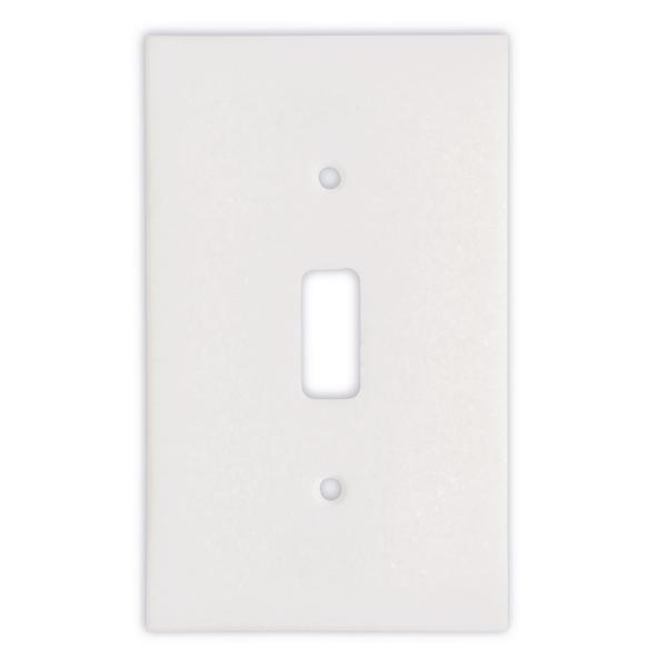 Thassos White Marble Single Toggle Switch Plate Tilezz