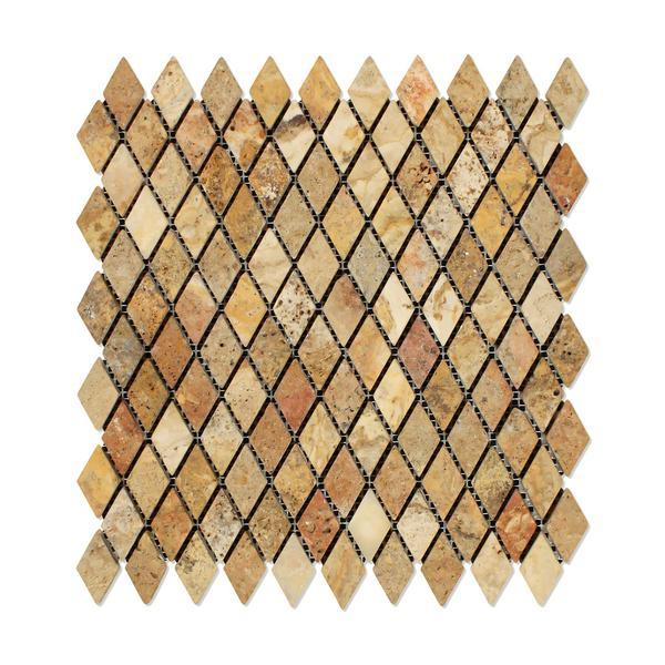 Scabos Travertine 1x2 Diamond Tumbled Mosaic Tile Stone Tilezz