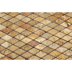 Scabos Travertine 1x2 Diamond Tumbled Mosaic Tile