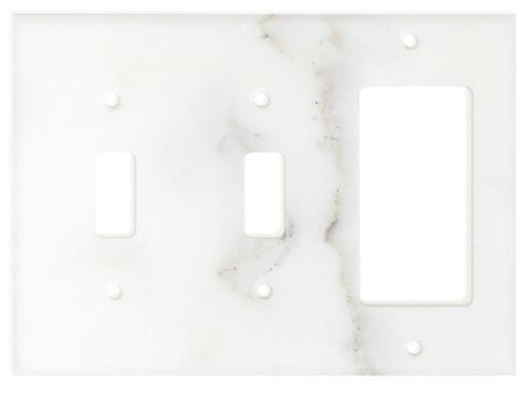 Calacatta Gold Marble Double Toggle Rocker Switch Plate Tilezz