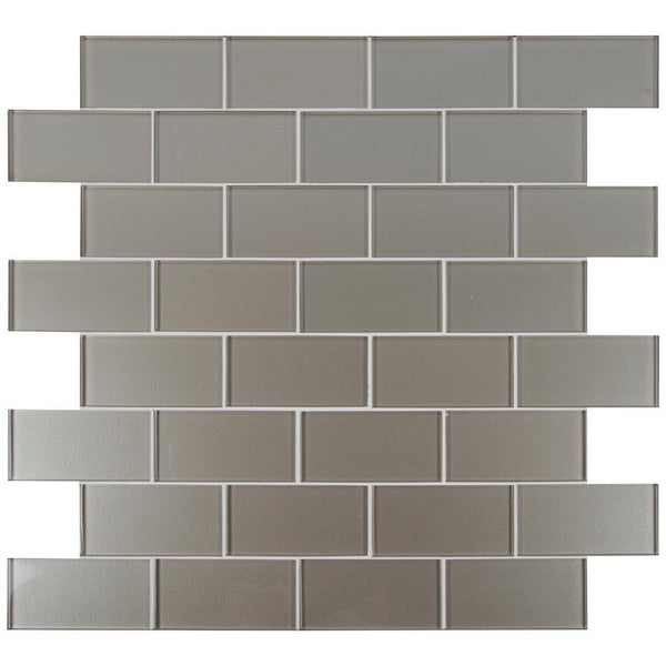 Starlight Beige 3x6 Glass Subway Tile Mesh Mounted Sample