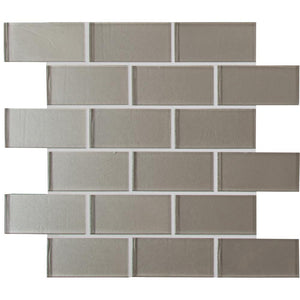 Starlight Beige 2x4 Glass Subway Tile Mesh-Mounted Tilezz