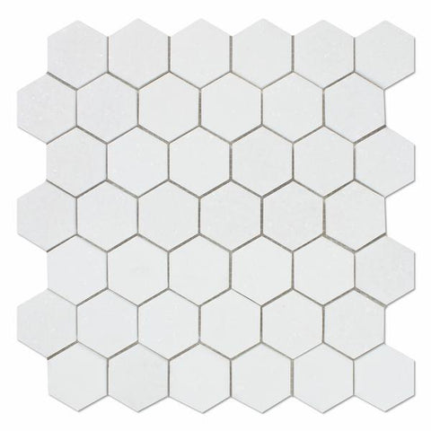 "Thassos White Hexagon 2"" Mosaic Tile Stone Tilezz"
