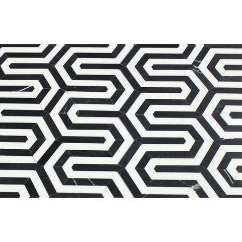 Thassos White Honed or Polished Marble Berlinetta Mosaic Tile (Thassos w/ Black)