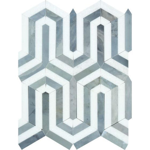 Thassos White Honed or Polished Marble Berlinetta Mosaic Tile (Thassos w/ Blue-Gray)
