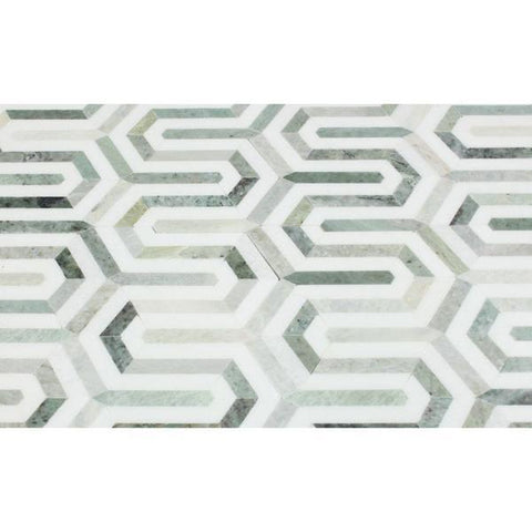 Thassos White Honed or Polished Marble Berlinetta Mosaic Tile (Thassos w/ Ming Green)