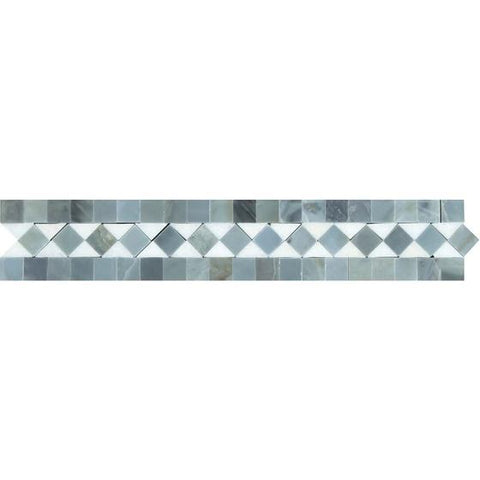 2 x 12 Honed or Polished Thassos White Marble BIAS Border w/ Blue-Gray Dots