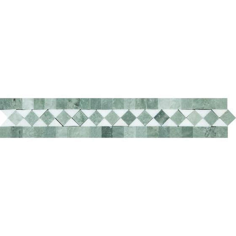 2 x 12 Honed or Polished Thassos White Marble BIAS Border w/ Ming Green Dots