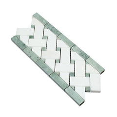 Thassos White Marble Basketweave Border with Green Marble