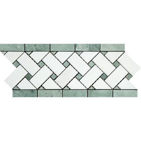 4 3/4 x 12 Honed or Polished Thassos White Marble Basketweave Border w/ Ming Green Dots