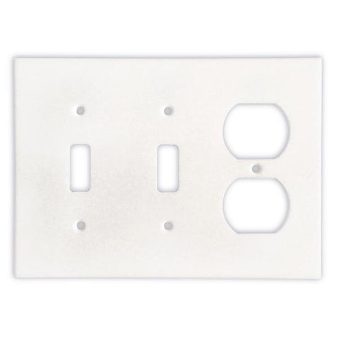 Thassos White Marble Double Toggle Duplex Switch Plate Tilezz