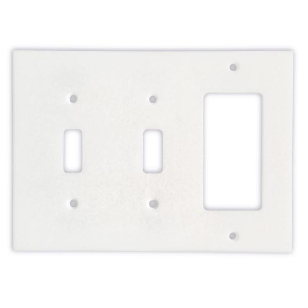 Thassos White Marble Double Toggle Rocker Switch Plate Tilezz