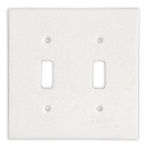 Thassos White Marble Double Toggle Switch Plate Tilezz