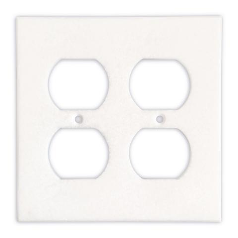 Thassos White Marble Double Duplex Switch Plate Tilezz