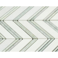 Thassos White & Green Chevron