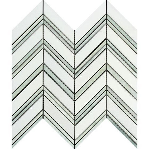 Thassos White Honed or Polished Marble Large Chevron Mosaic Tile (Thassos + Ming Green (Thin Strips))