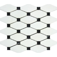 Thassos White Honed or Polished Marble Octave Mosaic Tile w/ Black Dots