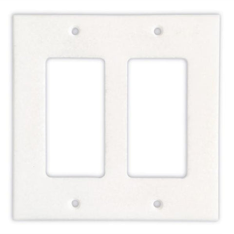 THASSOS WHITE MARBLE DOUBLE ROCKER SWITCH WALL PLATE / SWITCH PLATE / COVER - HONED OR POLISHED