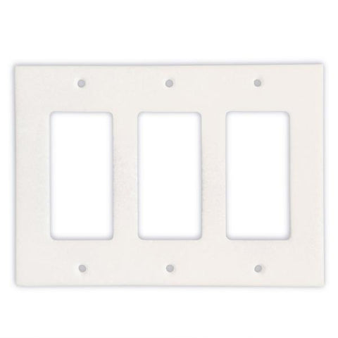 Thassos White Triple Rocker Switch Plate Tilezz