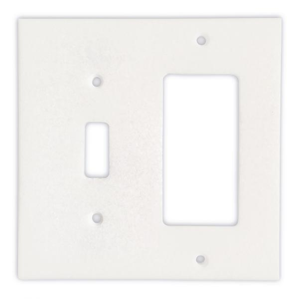 Thassos White Marble Toggle Rocker Switch Plate Tilezz