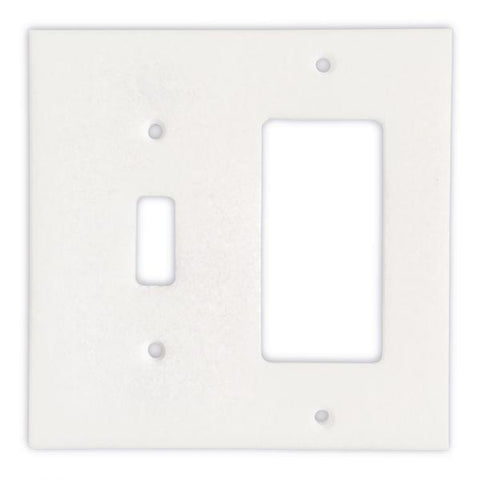 THASSOS WHITE MARBLE TOGGLE ROCKER SWITCH WALL PLATE / SWITCH PLATE / COVER - HONED OR POLISHED