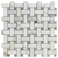 Calacatta Gold Marble Basketweave with Blue Marble Stone Tilezz