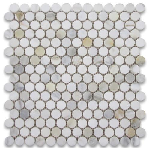 Calacatta Gold Marble Penny Round Mosaic Polished/Honed Stone Tilezz